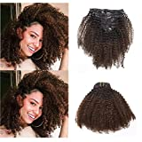 Anrosa Kinkys Curly Clip in Hair Extensions Human Hair 3C 4A 4B Afro Kinky Curly Clip ins Natural Hair Clip ins Afro Kinky Clip ins for Black Women Color Dark Brown #1B/4 Thick Big Volume 20 Inch 120g