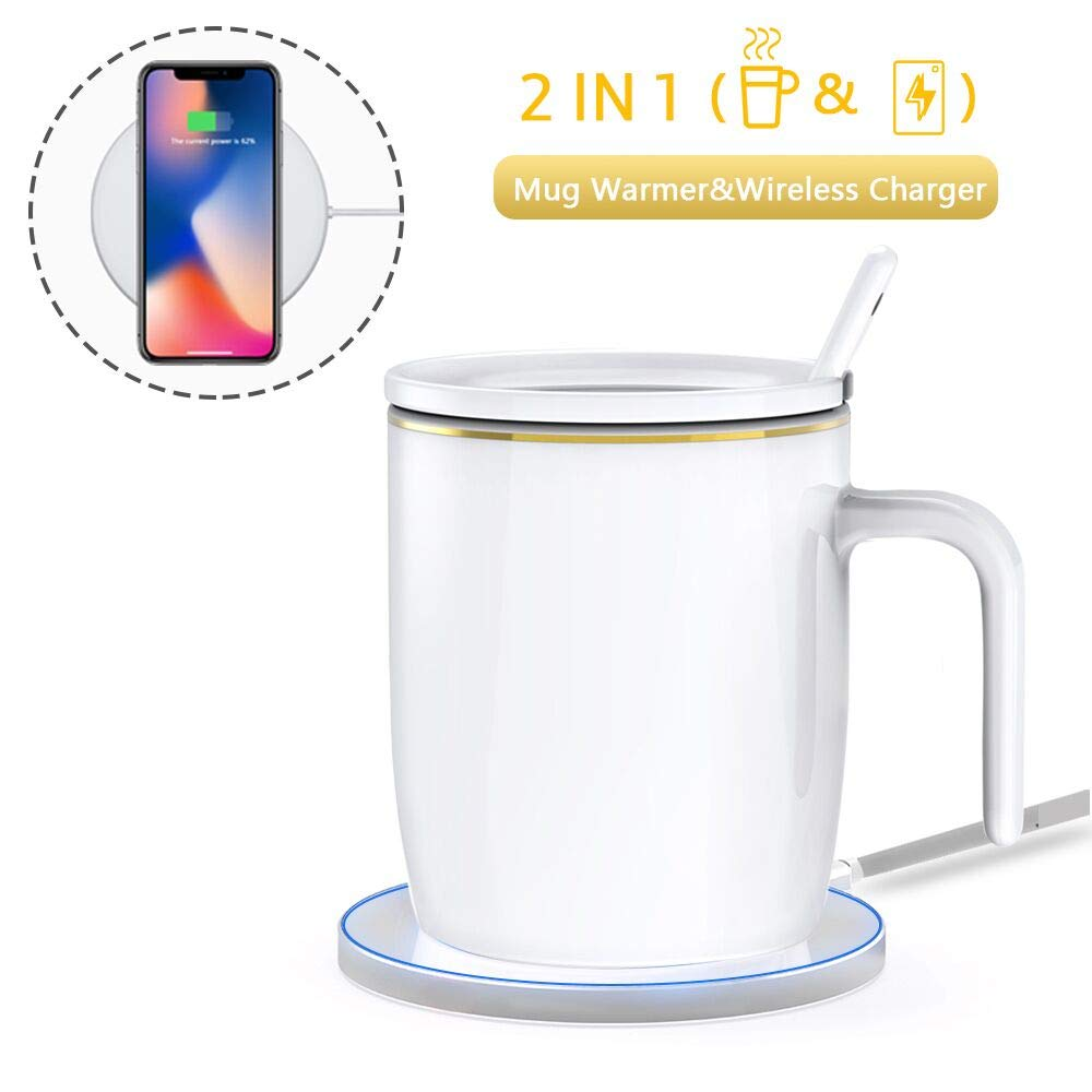 Coffee Mug Warmer with Wireless Charger Cup Spoon Cover Set for Coffee Tea Milk Warming and Phone Charging Constant Temperature Control Auto Shut Off for Home Office Desk