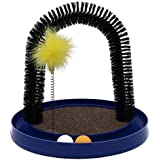 AITAMEI Arched Brush Massage Pet Cat Claws Self Grooming Cat Toys Hair Comb with Funny Cats Funny Track Orbit Ball Catnip Toy (Blue)