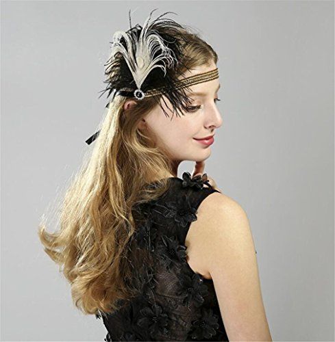 ELEGENCE-Z European and American Fascinator Feather Net Hat Headband Cocktail Party Hair Band Headwear