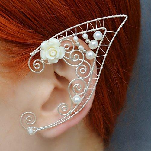 Amazoncom Elf Ear Cuff Fairy Earrings Elven Ears Flower Earrings