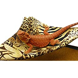 Mini-Hammock for Bearded Dragons, Safari Fabric with Suction Cup Hooks