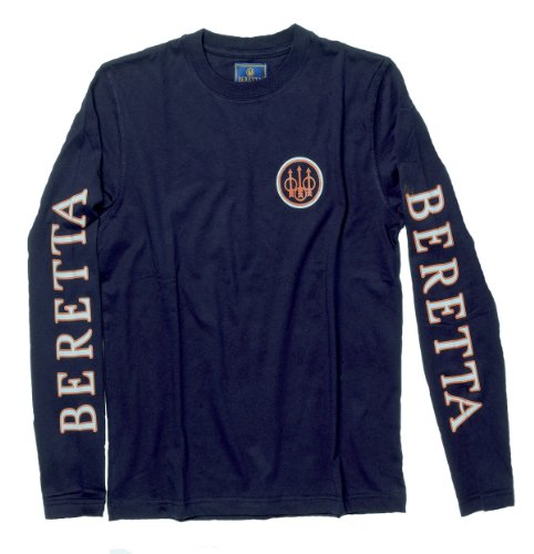 Beretta Men's Long Sleeve Shooting T-Shirt, Navy, Large