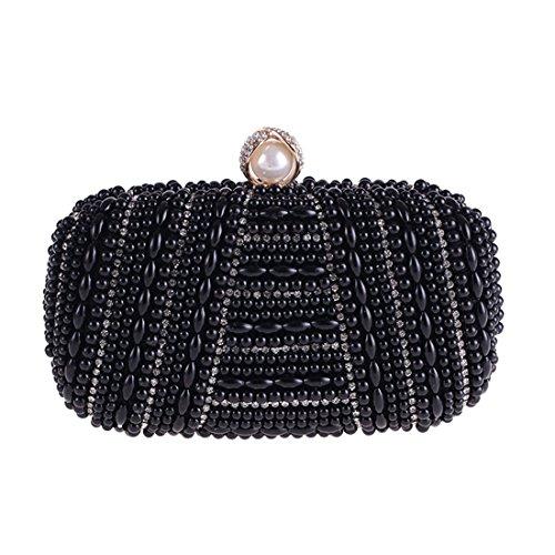 Evening Handbag KERVINFENDRIYUN Bag Black Color Satin Rhinestone Pearl Black Bag Clutch Purse Shoulder Party Crossbody TqTtxwHfC