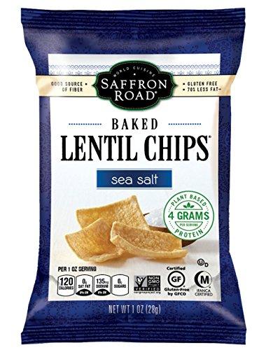 Lentil Chips (Saffron Road Baked Lentil Chips, Sea Salt, 1 Ounce (Pack of 12))