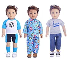 18 inch Doll Clothes - Sport & Pajamas & Band Outfits for American Girl Boy Logan Doll, Pack of 3