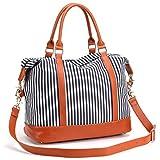 BLUBOON Weekender Overnight Bag Travel Women Ladies Canvas Duffle Tote Bags PU Trim (Blue Stripe-Medium size)