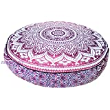 GDONLINE Indian Mandala Pink Ombre Bohemian Yoga Décor Floor Cushion Cover 35 x 35 Round Meditation Pillow Cover 100% Cotton Hand Printed Organic Floor Cushion Cover Decorative Pillow Case