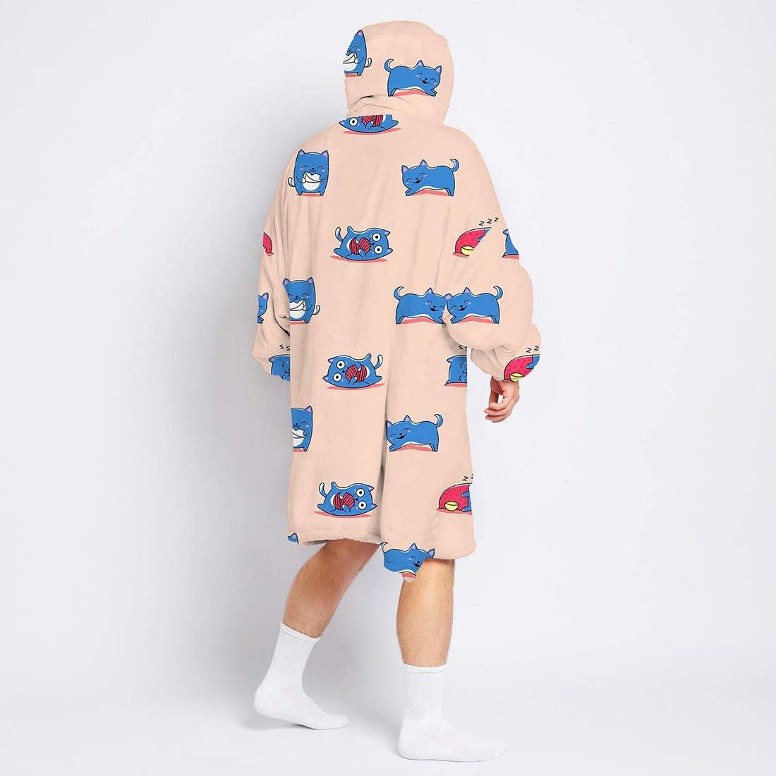 Vertvie Übergroße Hoodie Sweatshirt Drucken Decke Plüsch Dicke TV Decke mit Ärmeln Warm Bequem Pullover Mit Kapuze Robe Flanell Riesenpullover mit Fronttasche für Frauen Herren I