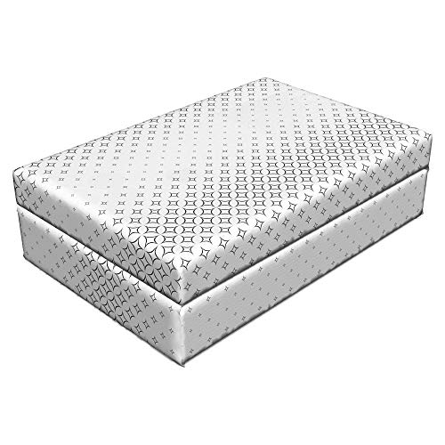 Lunarable Grid Pet Bed, Monochromatic Abstract Curved Stars from Big to Small Contemporary Filigree Style, Animal Mat Foam and Stylish Printed Cover, 24