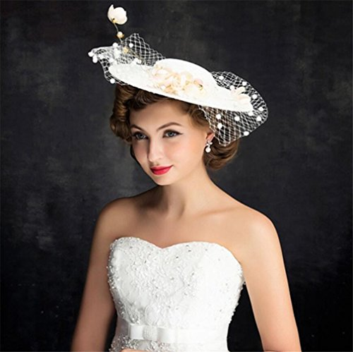 ELEGENCE-Z Fascinator Handmade Lace European and American Headdress Royal Party Wedding Dress Accessories Hat