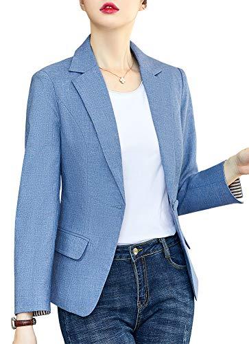 SUSIELADY Womens Notched Lapel Pocket Single Button Casual Work Office Blazer Jacket Slim Fit Blazer for Business Lady (T23-blue, Medium)