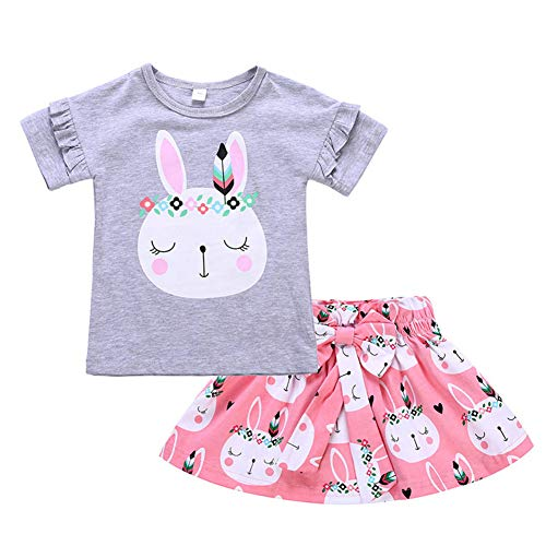 Mud Kingdom Cute Baby Girls Outfits Easter Bunny T-Shirt and Skirt Gray 24 Months ()