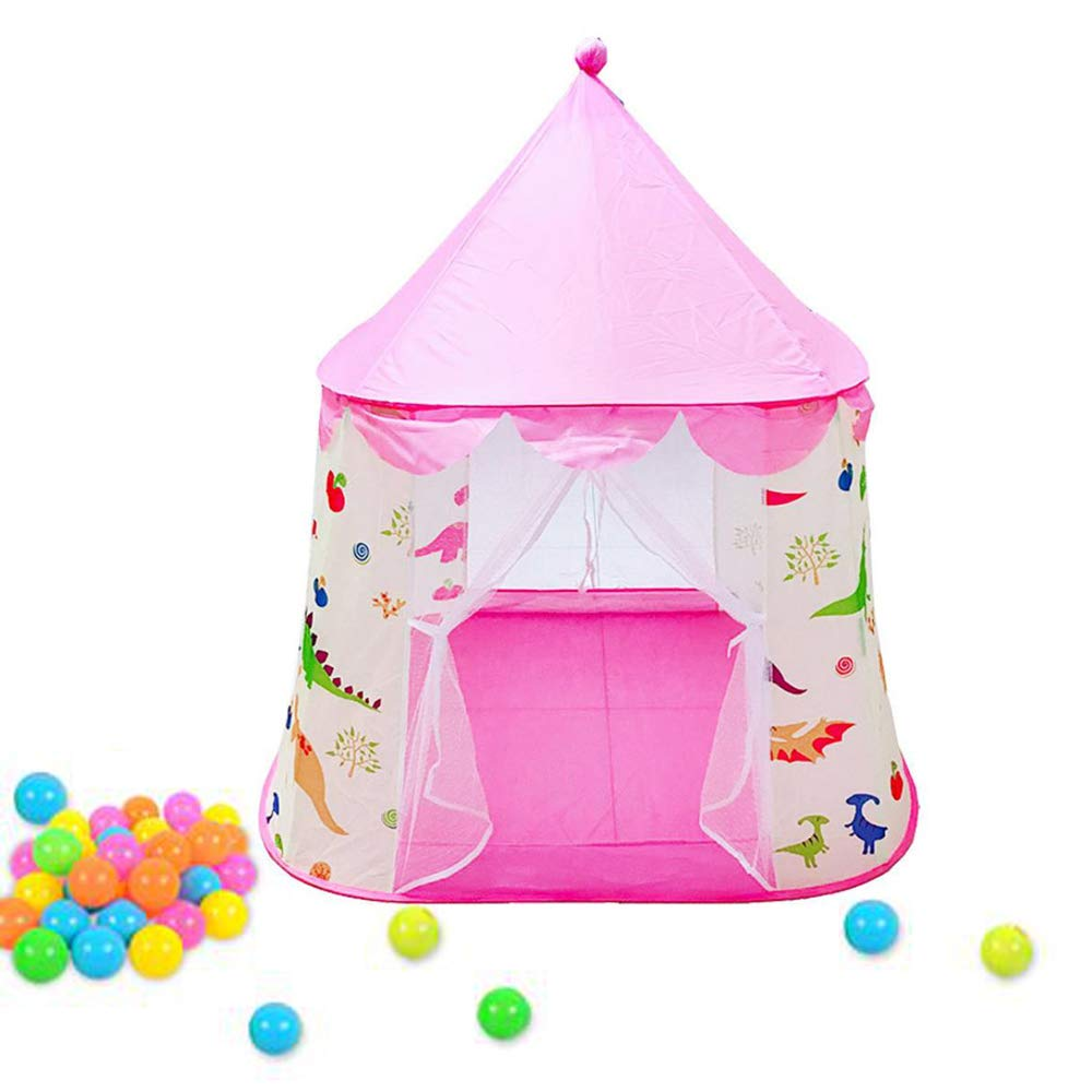 Playhouse for Kids Pink Dinosaur Themed Tent Foldable Pop Up Castle Tent Indoor Outdoor Cartton Animal Play Tent For Girls Boys Infant Pink