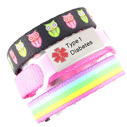 3 Bracelet Value Pack | Type 1 Diabetes, Kids Medical Alert Bracelets | Choice of Fun Designs | Childrens Medical ID Bracelets | Adjustable | Hoot & Rainbow
