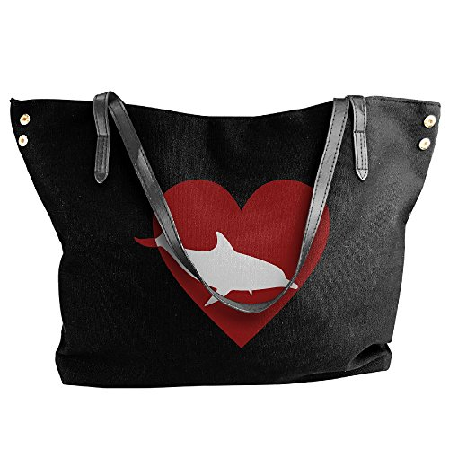 Heart Women's Handbag Dolphin Bag Canvas Hobo Large Shoulder Tote Messenger Black Tote wYqTOrSqx4
