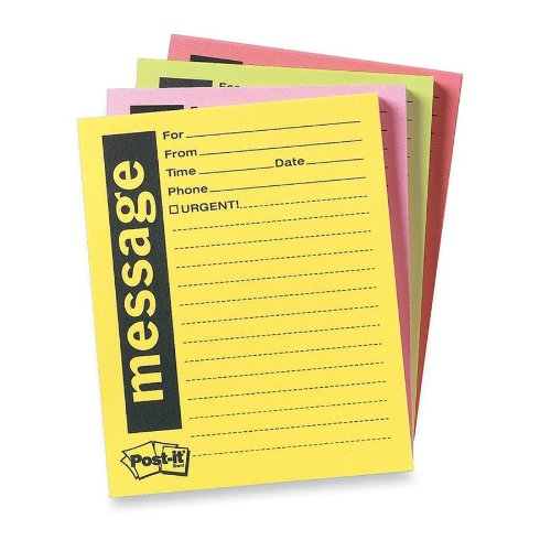 Post-it Super Sticky Telephone Message Notes, 4 x 5-Inches, Assorted Bright Colors, 4-Pads/Pack
