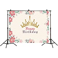 Allenjoy Polyester 7x5ft Children Birthday Photography Backdrops Golden Crown Watercolor Flowers Princess Girl Party Decoration Background for Photo Studio Shooting Photo Booth