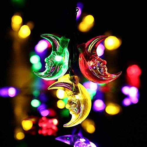 LUCKLED Solar String Lights, 20ft 30 LED Moon Lights With Light Sensor for Christmas Outdoor, Gardens, Homes, Wedding, Christmas,Party Decoration and Holiday Decor(Multi-Color)