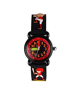 JIAN YA NA Children's Watch Waterproof 3D Cute Cartoon Design Round Dial Silicone Rubber Jelly Color Watch Band Quartz Wristwatch for Little Xmas Boy Kids (Black(Baseball kid ))
