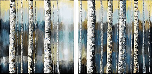 (Studio 500 Museum Grade Canvas - The Bare Naked Forest in Abstract Color, 2 Panels, 60