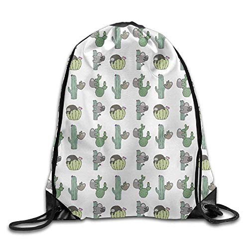 Sport Sloth Bag Cactus Print Shoulder Bags Drawstring Rucksack Bag Backpack Gym rzrwnTvq