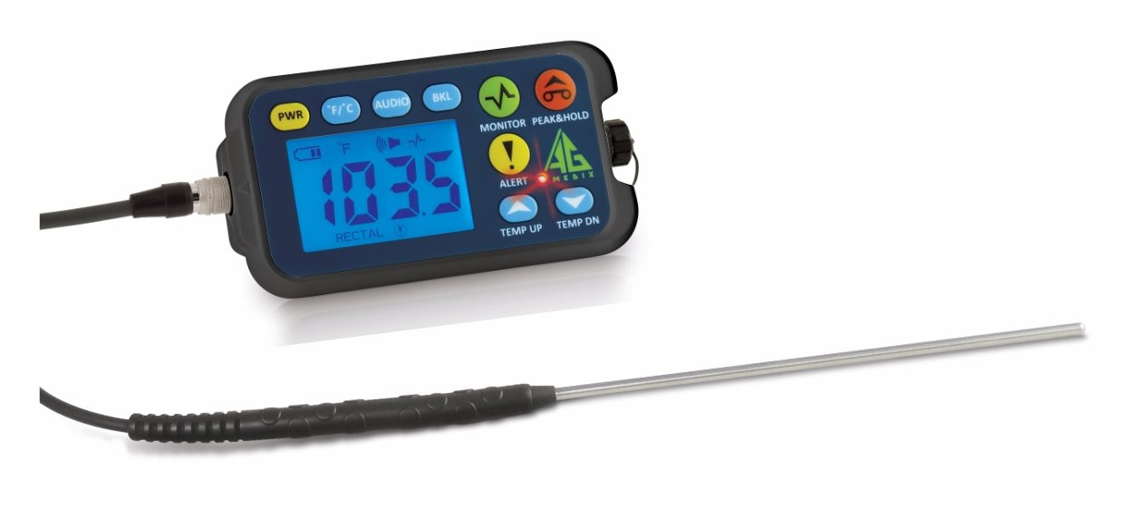 """Cattle Rectal Thermometer with 4"""" Straight Probe. Fast, Accurate Veterinary Thermometer for Dairy & Feedlot. AG-Medix AG-102 Thermometer with large LED and Arm Holster for easy one-hand operation."""