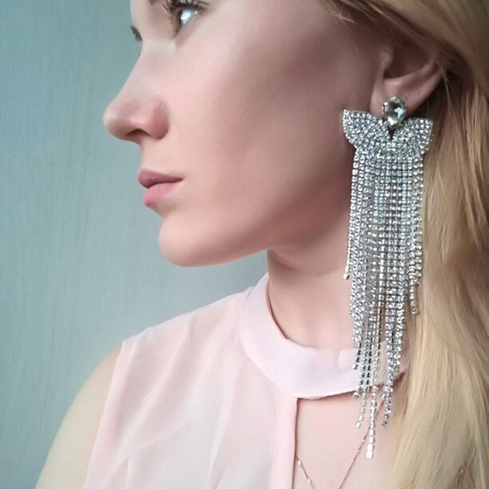mecresh Silver Rhinestone Crystal Long Tassels Dangle Earrings for Wedding