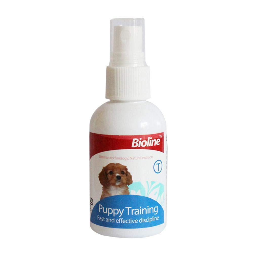 Auoker Dog Puppy Potty Training Spray, ici d'apprentissage de la propreté pour chiot Housebreaking Aid Spray pour chiens pour aider les chiots Pee à spécifiques Place, chien Toilette pour l'intérieur ou l'extérieur 50ml/48,2gram