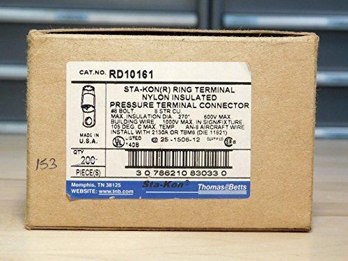 ((153) BRAND NEW - BOX OF 153x PC Thomas & Betts RD10161 STA-KON(R) Ring Terminal)