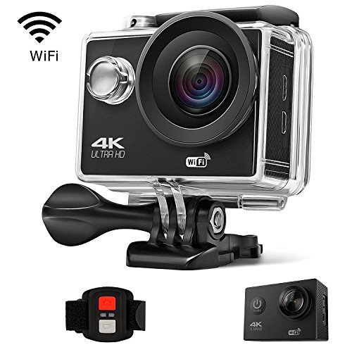 Gtopin 4K WiFi Action Camera 30fps Ultra HD 16MP 30M Underwater Waterproof Sports Camera Video Camcorder with Wireless Remote Control, Mounting Accessories Kit, 2 Rechargeable Battery Gtopin