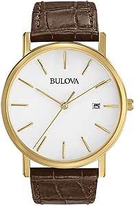 Bulova Men's Quartz Watch Leather Strap analog Display and Leather Strap, 97B100