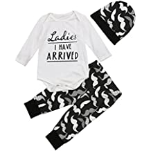 Aliven 3Pcs/Set Newborn Baby Girl Boy Striped Long Sleeve Tops Pant Hat Outfits Clothes