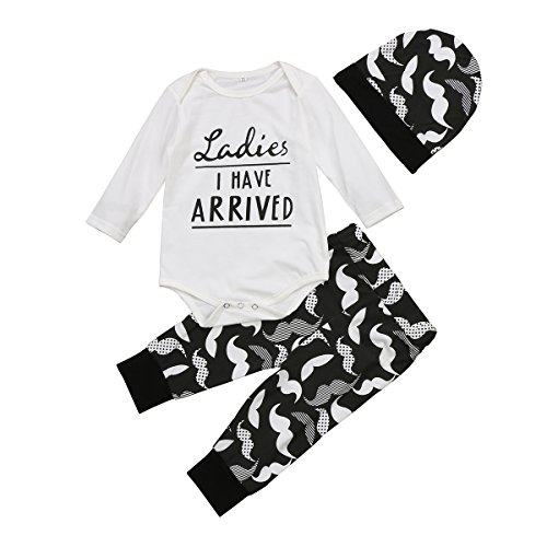 Aliven 3Pcs/Set Newborn Baby Girl Boy Striped Long Sleeve Tops Pant Hat...