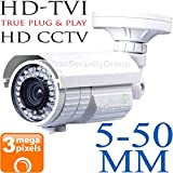 Cheap USG 3MP 2048×1536 Bullet Security Camera : 5-50mm Telephoto 10x Zoom Varifocal Lens : Weather & Vandal-proof : 72x IR LEDs 200ft Night Vision : Deep Extension Base : BNC HD-TVI, AHD & Analog