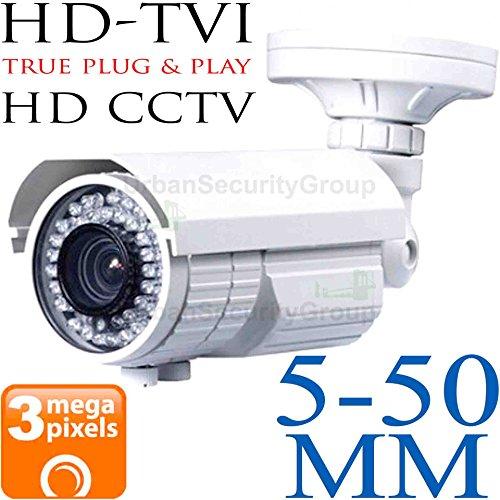 USG 3MP 2048x1536 Bullet Security Camera : 5-50mm Telephoto 10x Zoom Varifocal Lens : Weather & Vandal-proof : 72x IR LEDs 200ft Night Vision : Deep Extension Base : BNC HD-TVI, AHD & Analog