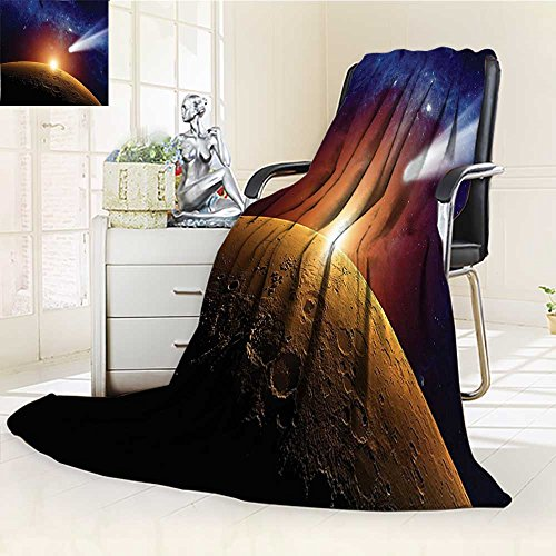 YOYI-HOME Cotton Thermal Duplex Printed Blanket,Tail Approaching Planet Mars Fantastic Star Cosmos Dark Solar System Scenery Bue Orange Soft and Breathable Cotton/W86.5'' x H59 by YOYI-HOME