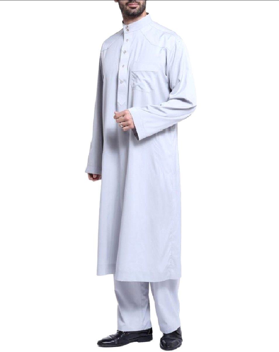 Coolred Mens 2 Piece Set Button Down Middle East Muslim Shalwar Kemeez Grey M