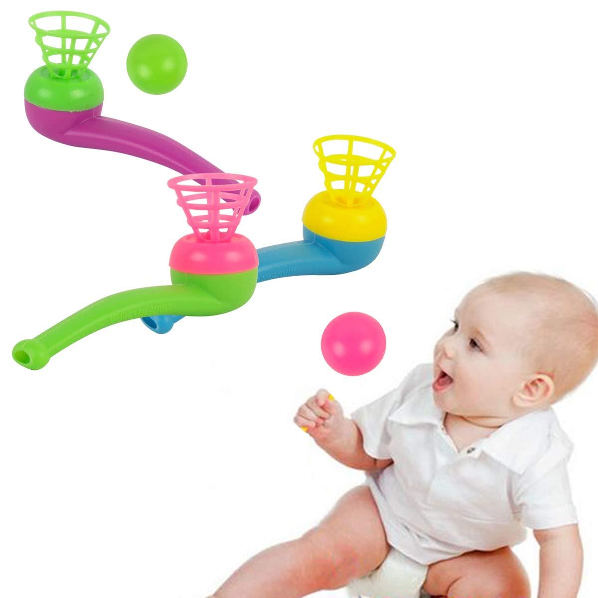 Toyvian Pipe Ball Toys 12 Pcs Plastique Ball Flottant Jouet Classique Nostalgie Suspension Air Soufflant Ball Party Party Pipe /à Souffler pour Enfants Gar/çons et Filles Couleur Al/éatoire