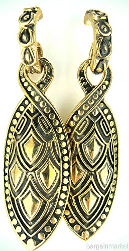 (Antiqued Gold EP Black Etched Fashion Dangle Drop Earrings For)