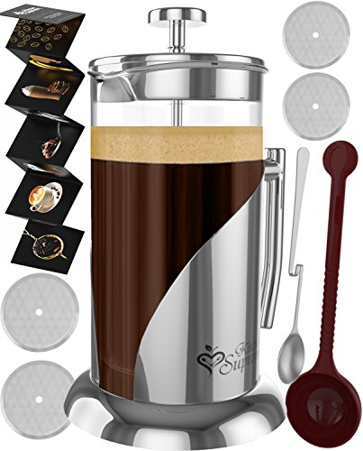 French Press Coffee & Tea Maker Complete Bundle | 34 Oz | Best Coffee Pot with Stainless Steel & Double German Glass Stainless Steel Coffee System