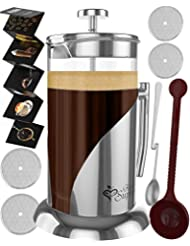 French Press Coffee & Tea Maker Complete Bundle   34 Oz   Best Coffee Pot with Stainless Steel & Double German Glass