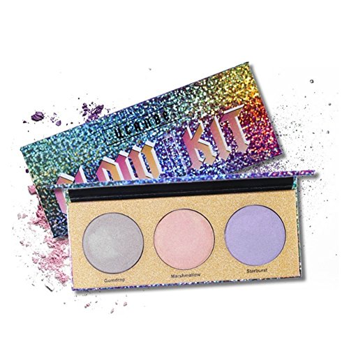 Glow Palette Highlighter Kit Eyeshadow Blush Face Makeup Crystal Sugar 3 Colors