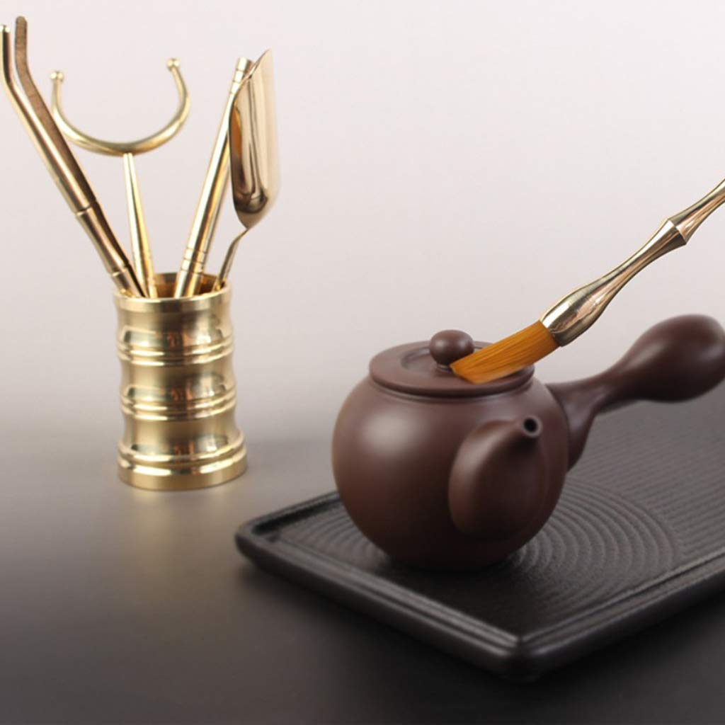 Flameer 6 Pieces Copper Material Chinese Cha Dao Tea Utensils Tools Set Home Decor by Flameer (Image #10)