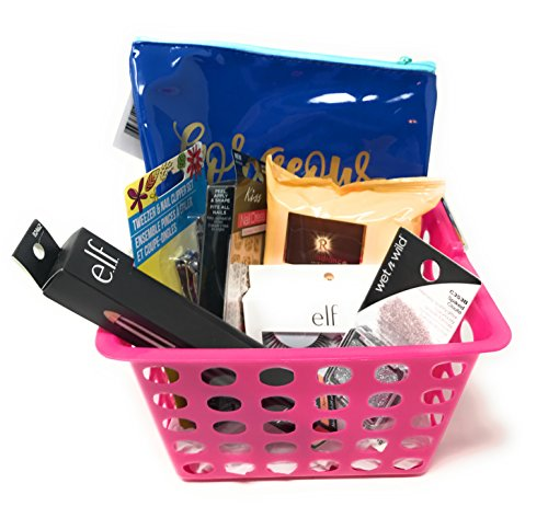 I Love Pink Beauty Gift Basket ~ Includes Tweezers, Nail Clippers, Natural Lip Color, Cleansing Wipes, Glitter, Eye Lash Kit and Nail Dress