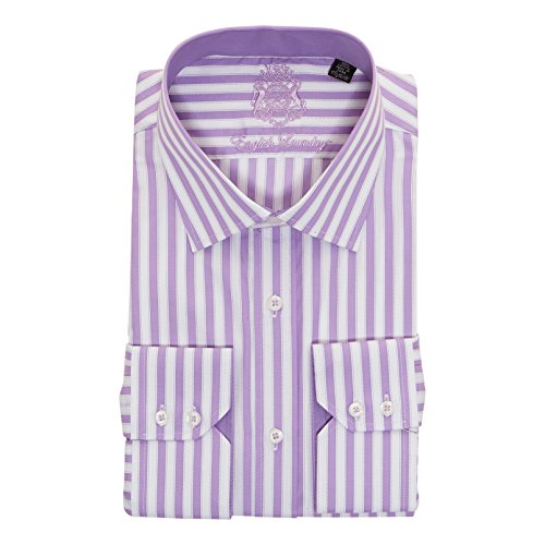 English Laundry Men's 100% Cotton Classic Fit Long Sleeve Dress (English Laundry Striped Shirt)