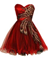 Fiesta Formals Metallic Short Peacock Prom Homecoming Bridesmaids Cocktail Dress - Red - XL