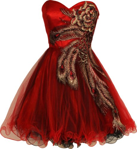 Metallic Peacock Embroidered Holiday Party Homecoming Prom Dress, Large, (Mardi Gras Dresses For Women)