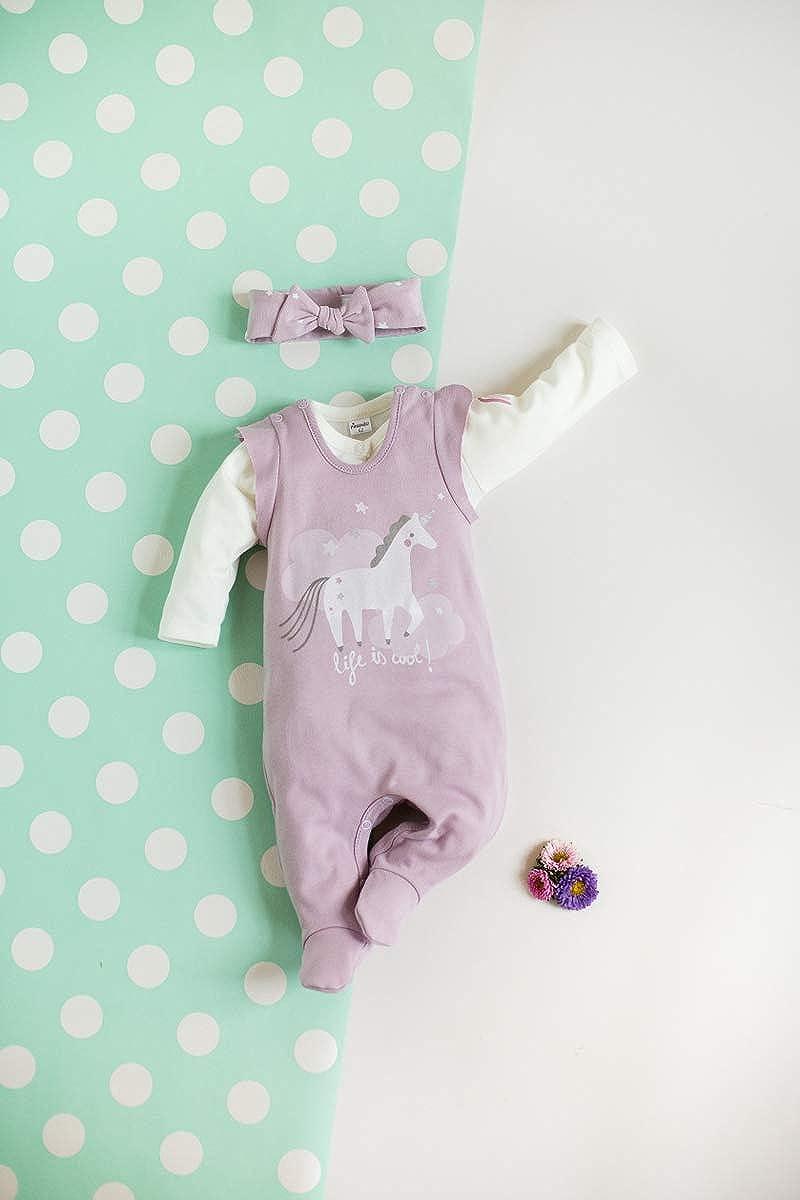 Einhorn Kollektion Allover Bedruckt Pinokio grau mit Punkten in wei/ß Strampelanzug//Schlafanzug /ärmellos Baby M/ädchen Strampler 100/% Baumwolle