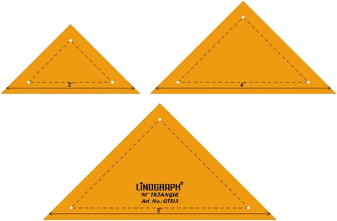 90 /° Dreieck-Form Quilting Patchwork-Form-Skala Vorlage Set mit 3 St/ück